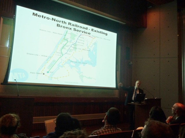 Robert MacLagger, Metro-North vice president of planning, briefed Bronx leaders and residents on the idea Monday night.