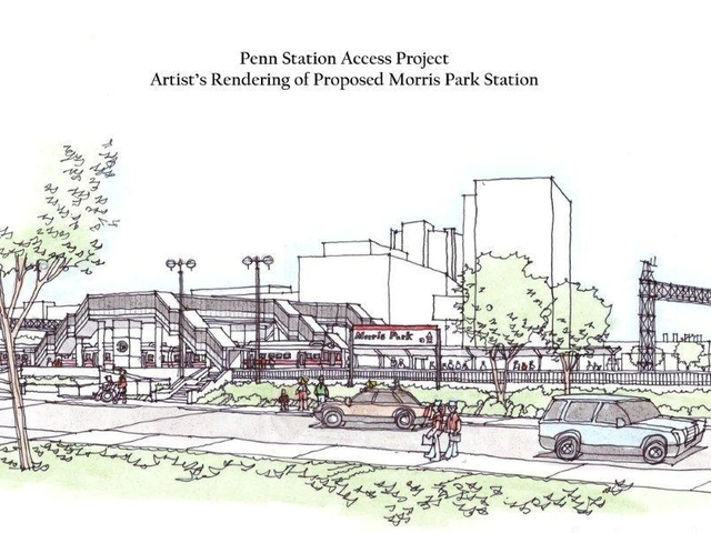 An artist's rendering of the proposed Metro-North station for Morris Park. Three other east Bronx neighborhoods--Hunts Point, Parkchester and Co-op City--are also being considered as future station sites.