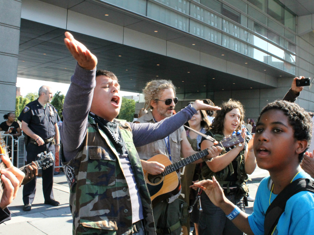 Members of the group Occupy Guitarmy performed outside the Bronx courthouse.