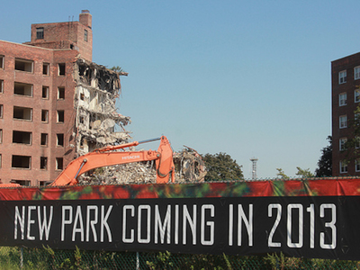 <p>The construction site on Governors Island where demolition of a seven story building began Thursday, Sept. 13, 2012, the first of four high rises that will be demolished over the next several months.</p>
