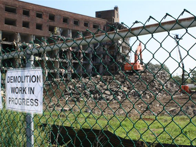 <p>Demolition of a seven story high rise began Thursday, Sept. 13, 2012. It is the first of four buildings that will be demolished over the next several months.</p>