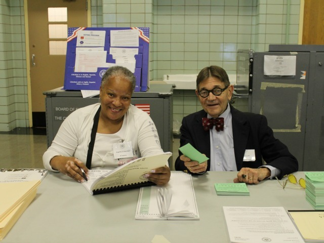 Poll workers Eugertha Greenfied and Karl said turnout in Duane's district had been