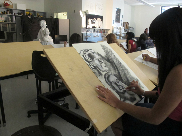 A drawing class inside the new High School of Art and Design on East 56th Street between Second and Third avenues.
