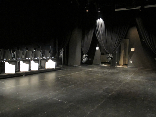 The school's black box theater, where plays and films can be shown.