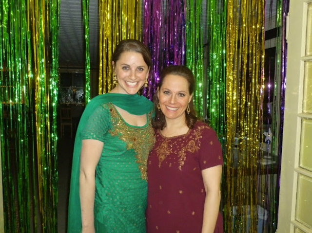 Margaret Teich, 28, posed with another congregant at  Purim festival this year.