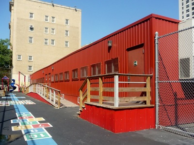 The trailers at P.S. 96, an elementary school on Waring Avenue in the Bronx.
