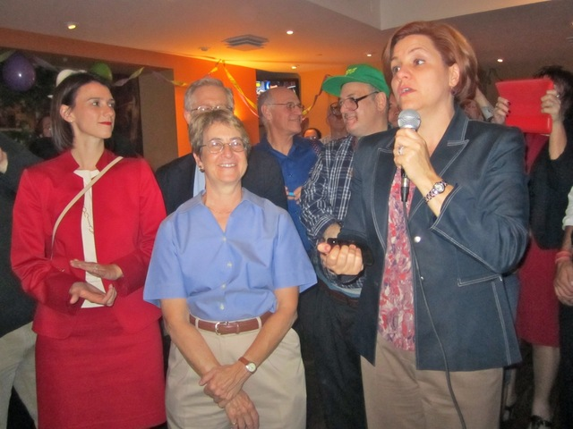 Chrstine Quinn, right, and Deborah Glick, center, said Sept. 13, 2012 that Brad Hoylman would make an excellent state senator.