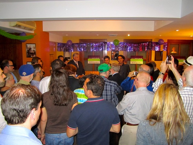 Dozens of Brad Hoylman supporters crowded into a Midtown bar for his victory party Sept. 13, 2012.