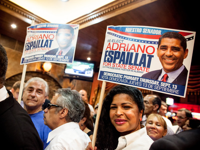 <p>Supporters of Adriano Espaillat celebrate in Washington Heights after the Senator defends his seat against political rival Guillermo Linares on Sept. 13th, 2012.</p>