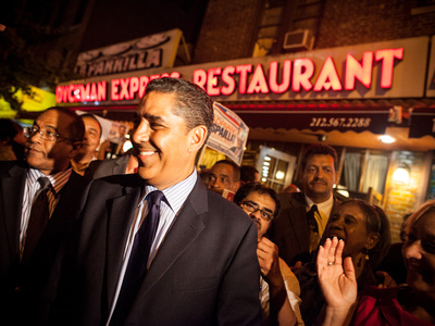 <p>Senator Adriano Espaillat leaves Dyckman Express Restaurant in Inwood after sealing victory over political rival Guillermo Linares on Sept. 13th, 2012.</p>