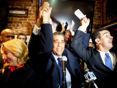 <p>State Sen. Adriano Espaillat celebrates his reelection victory at the Dyckman Express Restaurant in Inwood on Sept. 13th, 2012.</p>