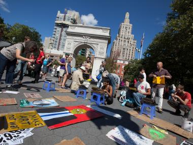 The Occupy Wall Street Anniversary meeting takes place in Washington Square Park on Sept. 15th,