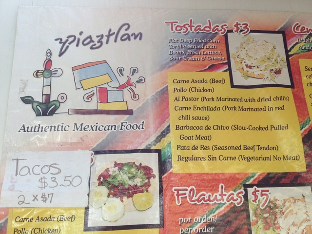 Piatzlan's menu includes traditional central-Mexican favorites