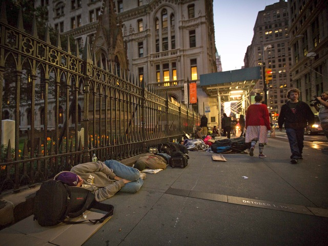Protesters slept overnight in the Financial District to mark the anniversary of the Occupy Wall Street movement on Sept. 17, 2012.