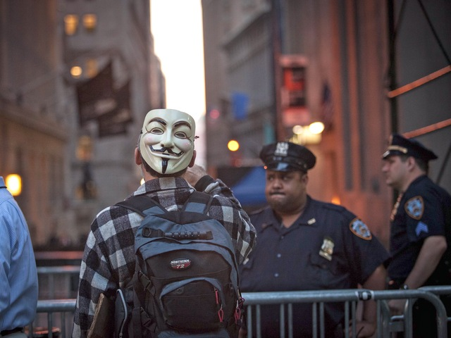 A protester prepares to mark the anniversary of the Occupy Wall Street on Sept. 17, 2012.