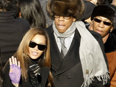 Singer Beyonce Knowles and husband Jay-Z arrive on the inaugural stage ahead of the inauguration of Barack Obama as the 44th President of the United States of America on the West Front of the Capitol January 20, 2009 in Washington, DC. Obama becomes the first African-American to be elected to the office of President in the history of the United States.