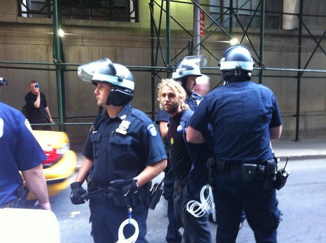 A protester being taken into custody in the Financial District on Sept. 17, 2012, the anniversary of the Occupy Wall Street movement.