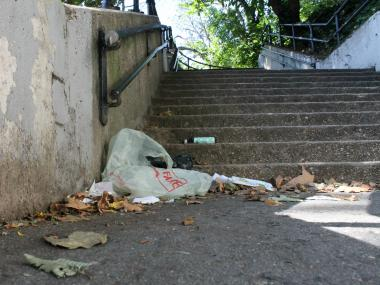 The street steps at East 165th St., between Anderson and Jerome avenues, collect litter and seedy characters, locals say.