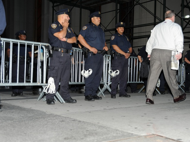 Police prepare as protesters mark the anniversary of Occupy Wall Street on Sept. 17, 2012.