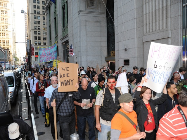 Protesters mark the anniversary of Occupy Wall Street on Sept. 17, 2012.