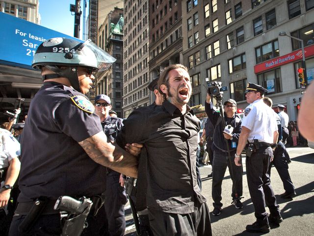 Cops made several arrests on Sept. 17, 2012, when protesters demonstrated for the anniversary of the Occupy Wall Street movement.