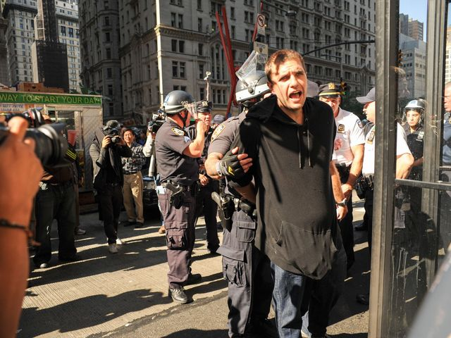 A protester arrested for the Occupy anniversary on Sept. 17, 2012.