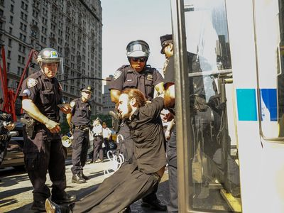 Cops arrested more than 100 demonstrators at the Occupy Wall Street protest on Sept. 17, 2012.