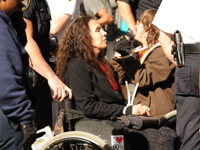 The NYPD arrested at least four wheelchair-bound demonstrators on Sept. 17, 2012.