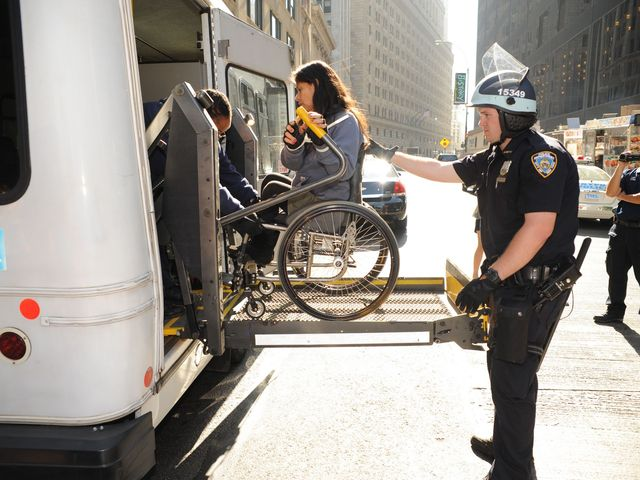 Wheelchair-bound demonstrators were arrested at the Occupy Wall Street protest on Sept. 17, 2012.