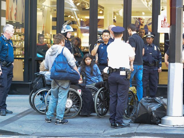 At least four wheelchair-bound demonstrators were arrested on Sept. 17, 2012.