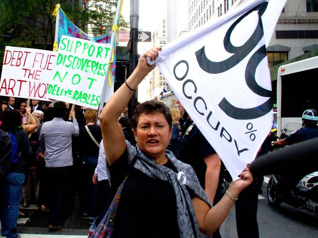 Hundreds of demonstrators marked the anniversary of the Occupy Wall Street movement on Sept. 17, 2012.