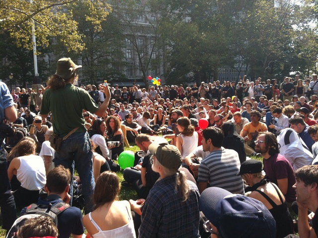 Hundreds gathered at Battery Park City for the anniversary of the Occupy Wall Street on Sept. 17, 2012.