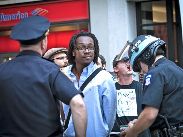 A protester arrested on Sept. 17, 2012, the anniversary of the Occupy Wall Street.