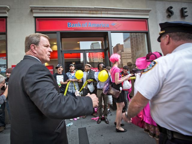 Protesters rallied in front of a Bank of America in the Financial District on Sept. 17, 2012.