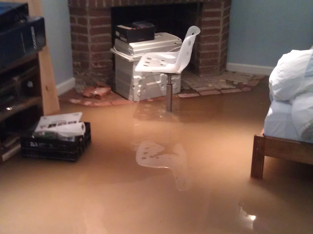Simon Gouldstone's basement flooded with 10 inches of sewage.