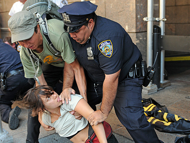 A protester was arrested near Church and Cortland Street on the one-year anniversary of Occupy Wall Street.