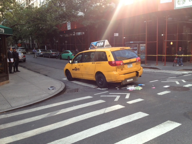 The cab that struck and killed a 65-year-old woman on East 69th Street and First Avenue.