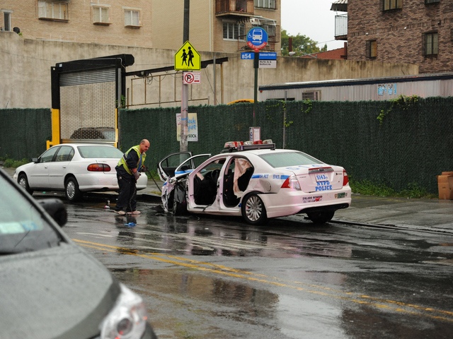 This Police car crashed with a Lexus GS300 at Myrtle and Bedford Avenues on Tuesday September 18th, 2012.