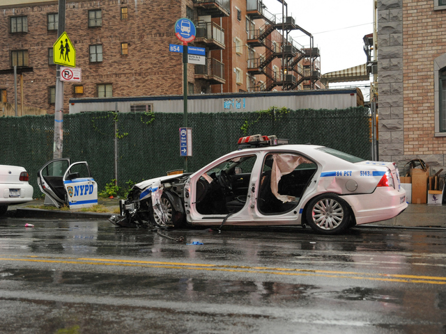 A police vehicle crashed with a Lexus GS300 at Myrtle and Bedford avenues on Tuesday September 18th, 2012.