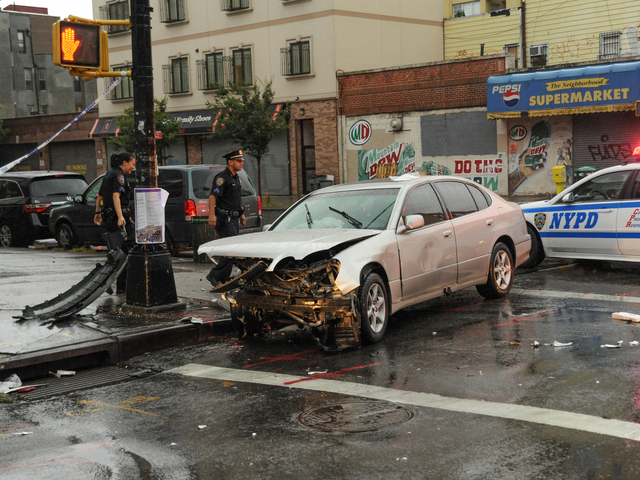 A Lexus was involved in a collision with a NYPD vehicle on Tuesday September 18th, 2012.