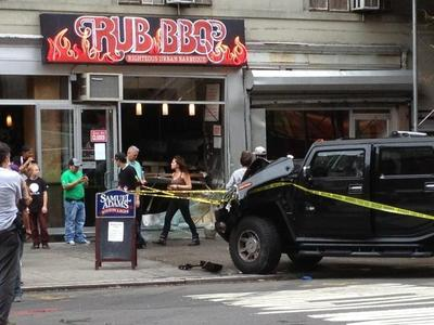 A Hummer crashed into Rub BBQ on West 23rd Street in Chelsea Sept. 18, 2012.