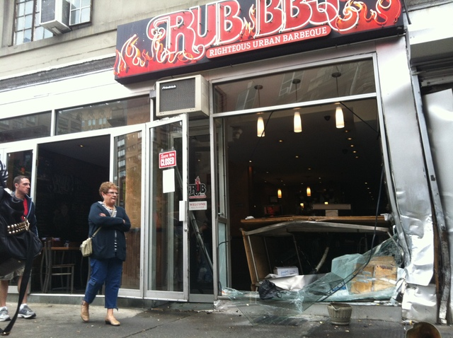 A Hummer crashed into Rub BBQ on West 23rd Street Sept. 18, 2012.