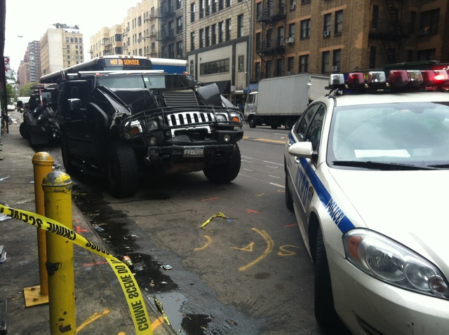 The damaged hummer on 23rd Street in Chelsea Sept. 18, 2012.
