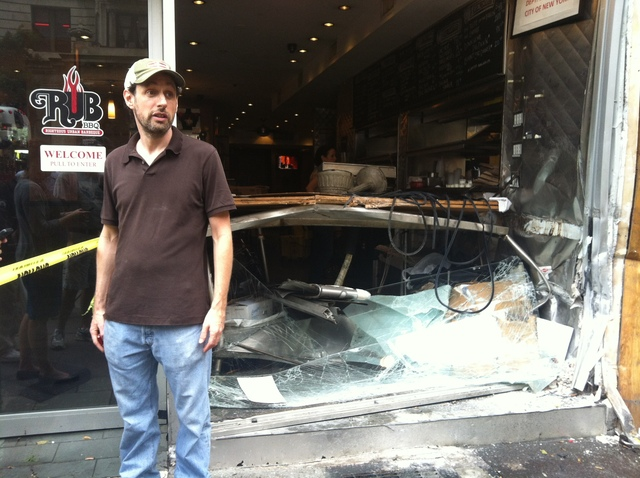 Andrew Fischel, owner of Rub BBQ, after an out-of-control Hummer crashed into the restaurant Sept. 18, 2012.