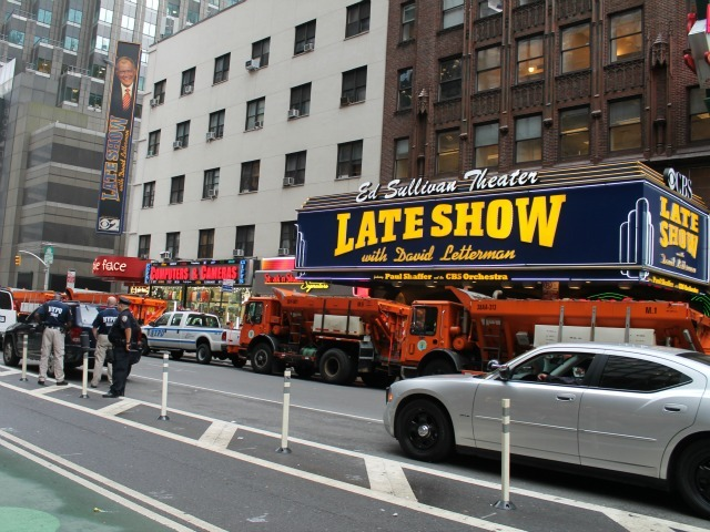 The President's first stop was a taping of the Late Show with David Letterman.