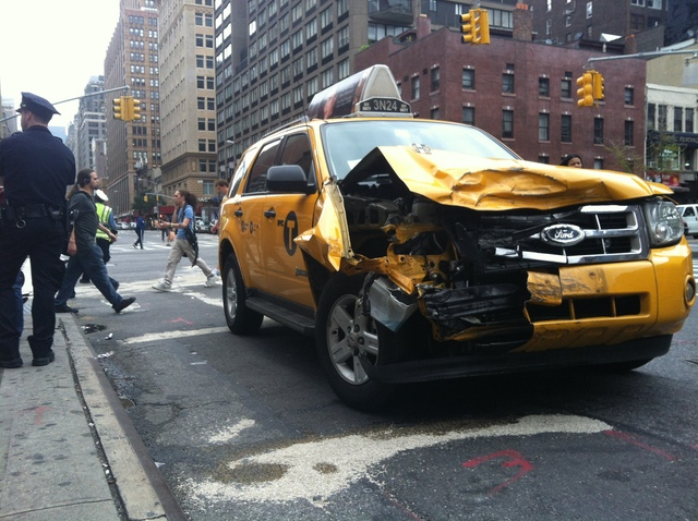 The cab that was hit by a stolen Hummer in Chelsea Sept. 18, 2012.