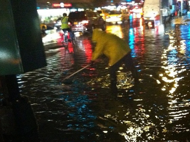 Rain flooded New York Sept. 18, 2012, snarling traffic and forcing buses to detour.