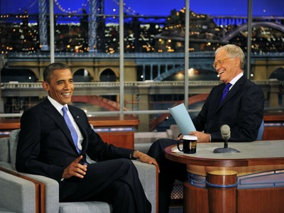 <p>President of the United States, Barack Obama talks with Dave when he visits the Late Show with David Letterman.</p>