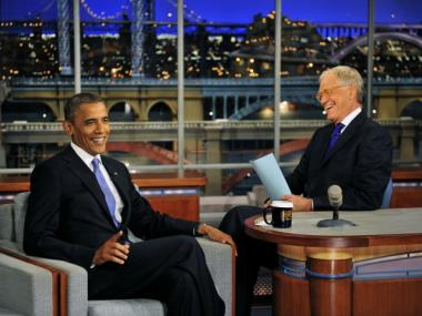David Letterman, seen here with Barack Obama, announced his retirement during Thursday's show.