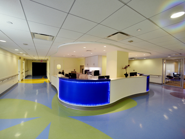The Hospital for Special Surgery's new Lerner Children's Pavilion has bright kid-friendly colors.